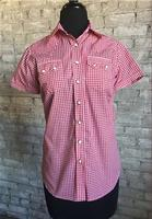 Rockmount Ranch Wear Ladies' Western Shirt: Short Sleeves Gingham Red Backordered
