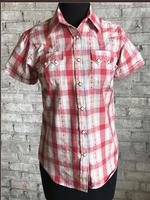 Rockmount Ranch Wear Ladies' Western Shirt: Short Sleeves Dobby Plaid Red S-XL