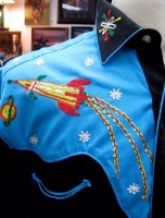 Rockmount Ranch Wear Men's Vintage Western Shirt: Fancy Atomic Cowboy Rockets Turquoise