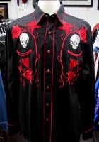 Rockmount Ranch Wear Men's Vintage Western Shirt: Fancy Skulls and Roses Red on Black S-XL