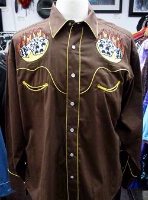 ZSold Rockmount Ranch Wear Men's Vintage Western Shirt: Dice On Fire Brown Large SOLD