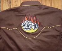 ZSold Rockmount Ranch Wear Men's Vintage Western Shirt: Dice On Fire Brown 2XL SOLD