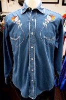 ZSold Rockmount Ranch Wear Men's Vintage Western Shirt: Route 66 Lives On Denim S-XL SOLD