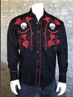 Rockmount Ranch Wear Men's Vintage Western Shirt: Fancy Skulls and Roses Red on Black Backordered