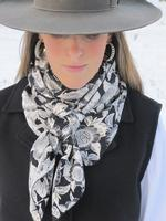 Cowboy Images Accessory: Scarf Charmeuse Dots Black on White