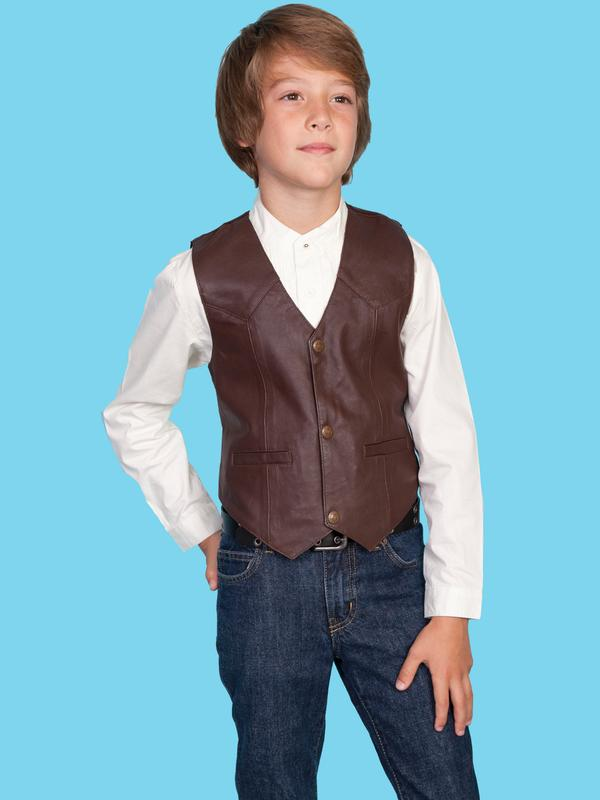Scully Childrens Vest: Lambskin Leather Brown S-XL