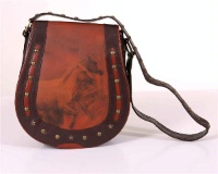 ZSold Scully Leather Shoulder Bag: Horseshoe Shape with Wild Horse Design SOLD