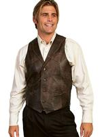 Scully Men's Leather Vest: Leather Whip Stitch Brown Buff