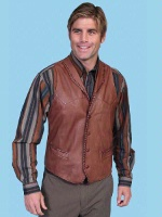 Scully Men's Leather Vest: Leather Whip Stitch Ranch Tan
