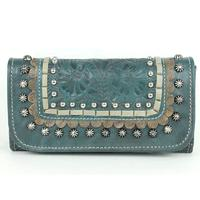 A American West Handbag Blue Ridge Collection: Leather Tri-Fold Wallet Dark Turquoise
