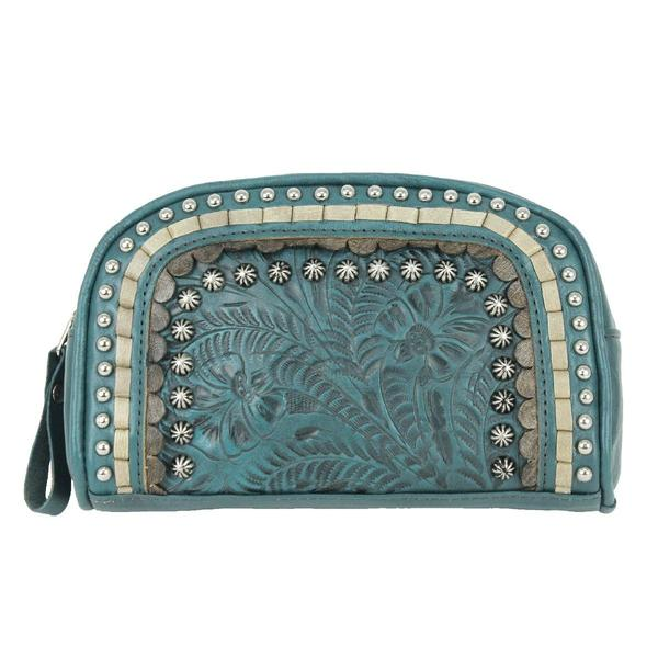 A American West Handbag Blue Ridge Collection: Leather Cosmetic Case Turquoise