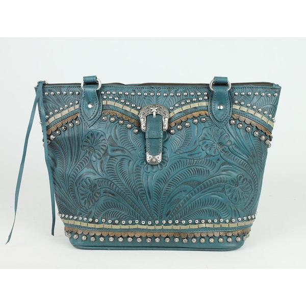 A American West Handbag Blue Ridge Collection: Leather Zip Top Bucket Tote Dark Turquoise