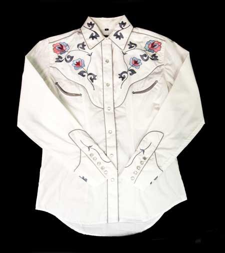 White Horse Ladies' Vintage Western Shirt: Embroidered Floral White S-XL
