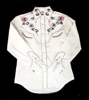 White Horse Ladies' Vintage Western Shirt: Embroidered Floral White