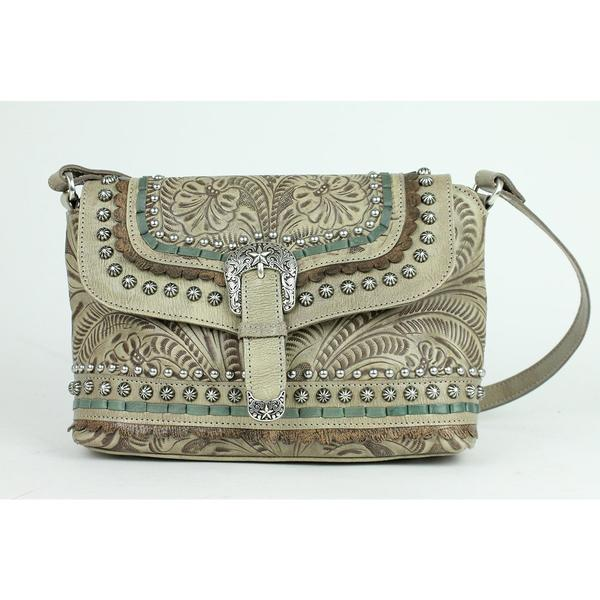 A American West Handbag Blue Ridge Collection: Leather Crossbody Flap Sand