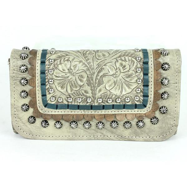 A American West Handbag Blue Ridge Collection: Leather Tri-Fold Wallet Sand