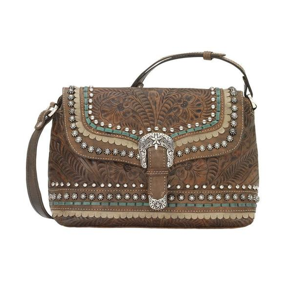 A American West Handbag Blue Ridge Collection: Leather Crossbody Flap Charcoal Brown
