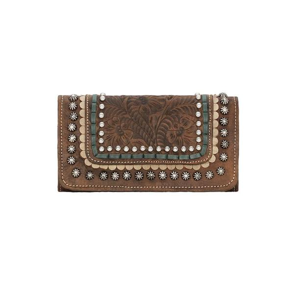 A American West Handbag Blue Ridge Collection: Leather Tri-Fold Wallet Charcoal Brown