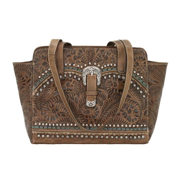 A American West Handbag Blue Ridge Collection: Concealed Carry Zip Top Tote Charcoal Brown