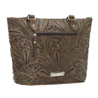 A American West Handbag Blue Ridge Collection: Leather Zip Top Bucket Tote Sand