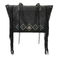 ZSold American West Handbag Canyon Creek Collection: Leather Carry All Zip Top Tote Tooled Fringe Black
