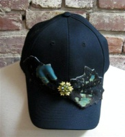 ZSold Pat Dahnke Chic Cap: Cap with Turquoise Leather Print Trim SOLD