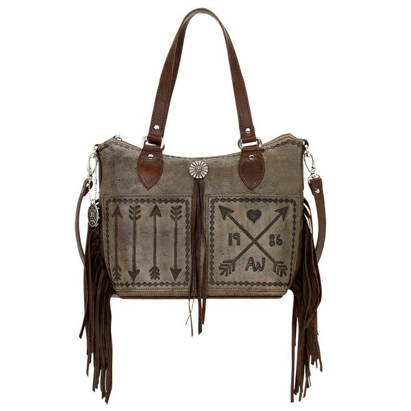 American West Handbag Cross My Heart Collection: Leather Convertible Zip Top Western Bucket Tote Fringe