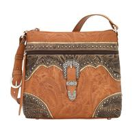 A American West Handbag Saddle Ridge Collection: Leather Zip Top Shoulder Golden Tan