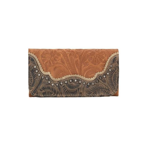 A American West Handbag Saddle Ridge Collection: Leather Tri-Fold Wallet Golden Tan