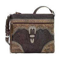 A American West Handbag Saddle Ridge Collection: Leather Zip Top Shoulder Chocolate