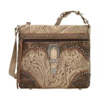 A American West Handbag Saddle Ridge Collection: Leather Zip Top Shoulder Sand