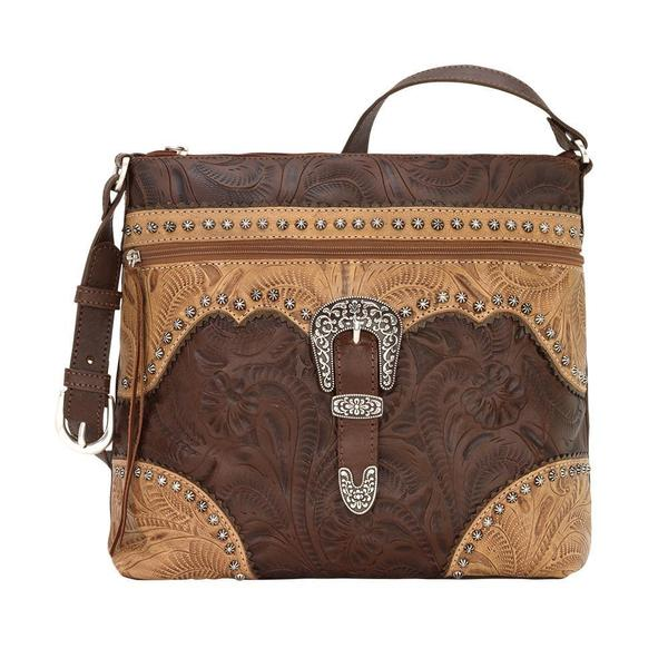 A American West Handbag Saddle Ridge Collection: Leather Zip Top Shoulder Chestnut Brown
