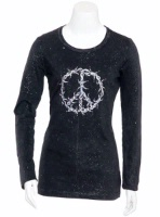 Jack Flash Tees: A LS or 3/4 Sleeve, Peace Sign Barbed Wire S-XXL