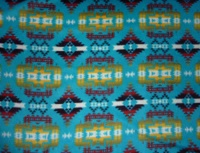 A Rockmount Ranch Wear Blanket: Native American Design Diamonds Turquoise Yellow Brown