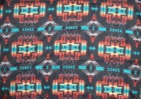 A Rockmount Ranch Wear Blanket: Native American Design Diamonds Black Red Turq