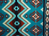A Rockmount Ranch Wear Blanket: Classic Native American Design Diamond Turquoise Red Brown