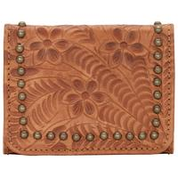 ZSold American West Handbag Navajo Soul Collection: Leather Tri-Fold Wallet Small Golden Tan
