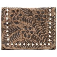 ZSold American West Handbag Navajo Soul Collection: Leather Tri-Fold Wallet Small Distressed Charcoal Brown