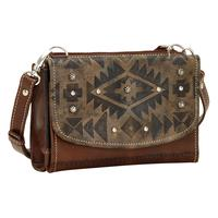 ZSold American West Handbag Mystic Shadow Collection: Leather Crossbody Wallet Distressed Charcoal Brown