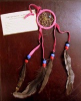 2in Navajo Dream Catcher: Leather Wrap w Feathers Small Pink