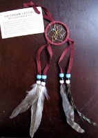2in Navajo Dream Catcher: Leather Wrap w Feathers Small Brown