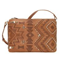 A American West Handbag Nomad Heart Collection: Leather Zip Top Crossbody Tan