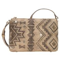 A American West Handbag Nomad Heart Collection: Leather Zip Top Crossbody Sand