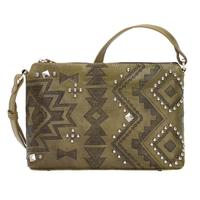 A American West Handbag Nomad Heart Collection: Leather Zip Top Crossbody Olive
