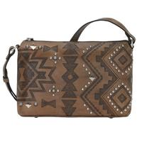 A American West Handbag Nomad Heart Collection: Leather Zip Top Crossbody Charcoal Brown