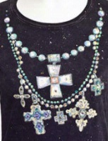 Jack Flash Tees: Cross and Bead Necklace SS, Tank S-2XL