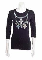Jack Flash Tees: Cross and Bead Necklace LS, 3/4 Sleeve S-2XL