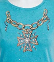 Jack Flash Tees: Cross Medallion Necklace LS, 3/4 Sleeve S-2XL