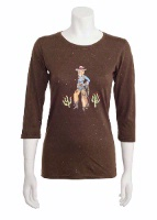 Jack Flash Tees: Cowgirl Cactus Kate LS, 3/4 Sleeve S-2XL