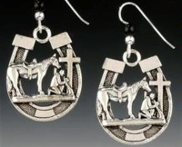 Praying Cowboy Collection: Horse Shoe Earrings